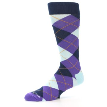 Image of Purple Light-Blue Argyle Men's Dress Socks (side-2-10)