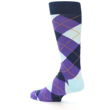 Image of Purple Light-Blue Argyle Men's Dress Socks (side-2-back-14)