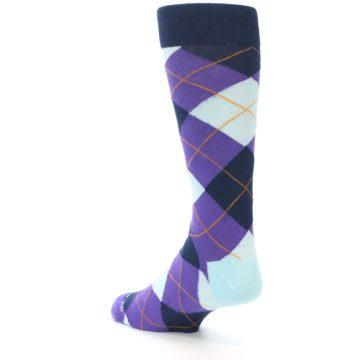 Image of Purple Light-Blue Argyle Men's Dress Socks (side-2-back-15)