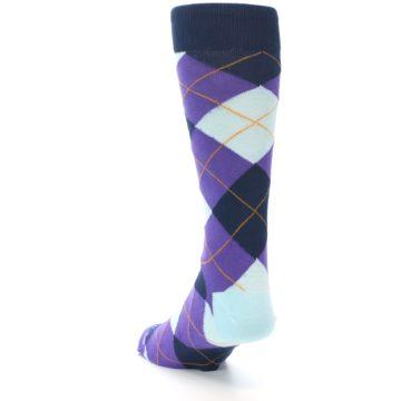 Image of Purple Light-Blue Argyle Men's Dress Socks (side-2-back-16)