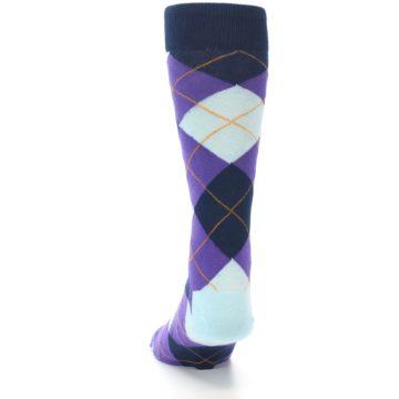 Image of Purple Light-Blue Argyle Men's Dress Socks (back-17)