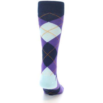 Image of Purple Light-Blue Argyle Men's Dress Socks (back-19)