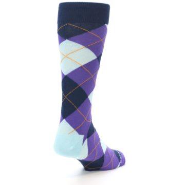 Image of Purple Light-Blue Argyle Men's Dress Socks (side-1-back-21)