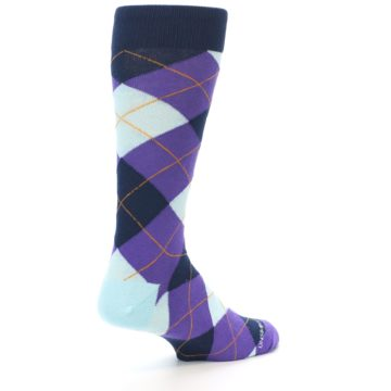 Image of Purple Light-Blue Argyle Men's Dress Socks (side-1-back-22)