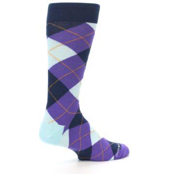 Image of Purple Light-Blue Argyle Men's Dress Socks (side-1-23)