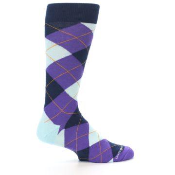 Image of Purple Light-Blue Argyle Men's Dress Socks (side-1-24)