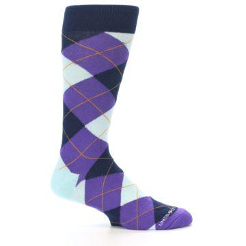 Image of Purple Light-Blue Argyle Men's Dress Socks (side-1-25)