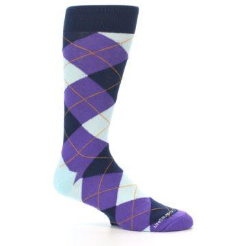 Image of Purple Light-Blue Argyle Men's Dress Socks (side-1-26)