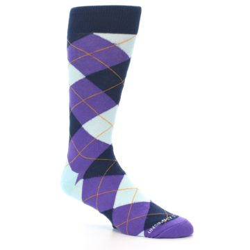 Image of Purple Light-Blue Argyle Men's Dress Socks (side-1-27)