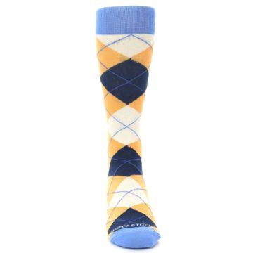Image of Orange Cream Navy Argyle Men's Dress Socks (front-04)