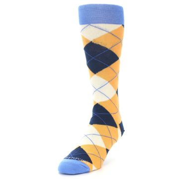 Image of Orange Cream Navy Argyle Men's Dress Socks (side-2-front-07)