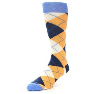 Image of Orange Cream Navy Argyle Men's Dress Socks (side-2-front-08)