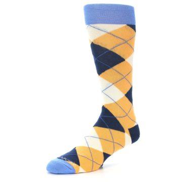 Image of Orange Cream Navy Argyle Men's Dress Socks (side-2-09)