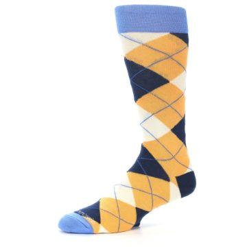 Image of Orange Cream Navy Argyle Men's Dress Socks (side-2-10)