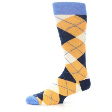 Image of Orange Cream Navy Argyle Men's Dress Socks (side-2-11)