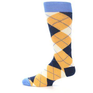 Image of Orange Cream Navy Argyle Men's Dress Socks (side-2-12)