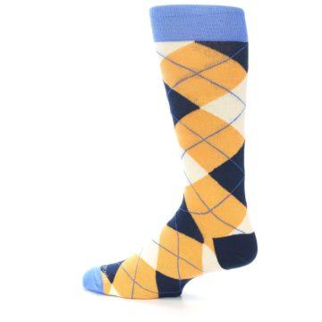 Image of Orange Cream Navy Argyle Men's Dress Socks (side-2-13)