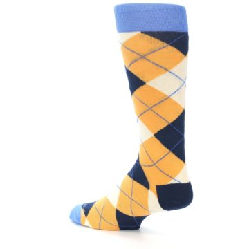 Image of Orange Cream Navy Argyle Men's Dress Socks (side-2-back-14)