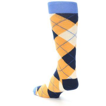 Image of Orange Cream Navy Argyle Men's Dress Socks (side-2-back-15)