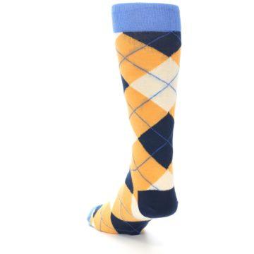 Image of Orange Cream Navy Argyle Men's Dress Socks (side-2-back-16)