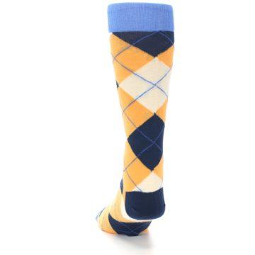 Image of Orange Cream Navy Argyle Men's Dress Socks (back-17)
