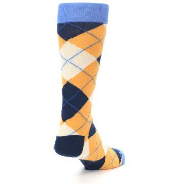 Image of Orange Cream Navy Argyle Men's Dress Socks (side-1-back-21)