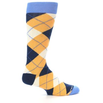Image of Orange Cream Navy Argyle Men's Dress Socks (side-1-24)