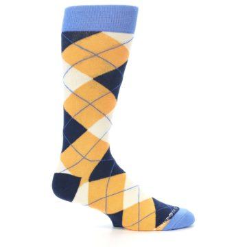 Image of Orange Cream Navy Argyle Men's Dress Socks (side-1-25)