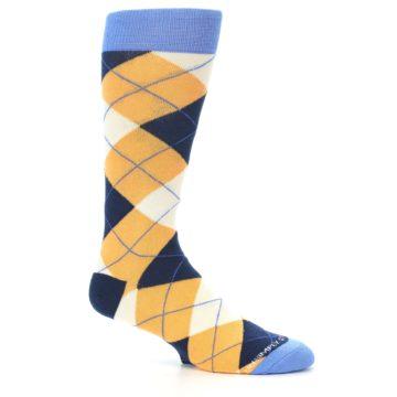 Image of Orange Cream Navy Argyle Men's Dress Socks (side-1-26)