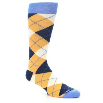 Image of Orange Cream Navy Argyle Men's Dress Socks (side-1-27)