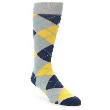 Image of Grey Gold Navy Argyle Men's Dress Socks (side-1-front-01)
