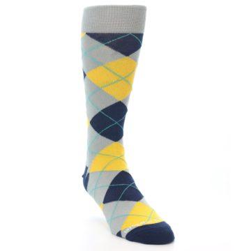 Image of Grey Gold Navy Argyle Men's Dress Socks (side-1-front-02)