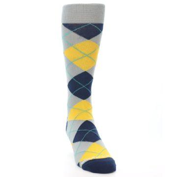 Image of Grey Gold Navy Argyle Men's Dress Socks (side-1-front-03)
