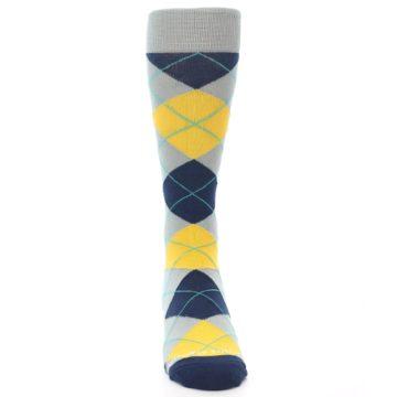 Image of Grey Gold Navy Argyle Men's Dress Socks (front-04)