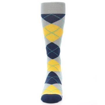 Image of Grey Gold Navy Argyle Men's Dress Socks (front-05)