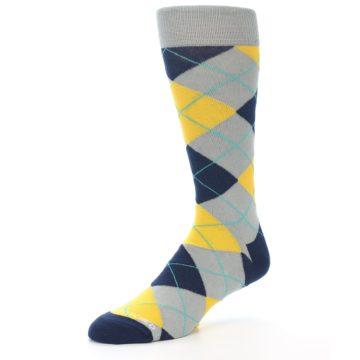 Image of Grey Gold Navy Argyle Men's Dress Socks (side-2-09)