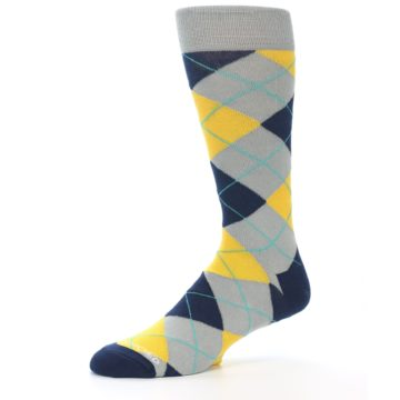 Image of Grey Gold Navy Argyle Men's Dress Socks (side-2-10)