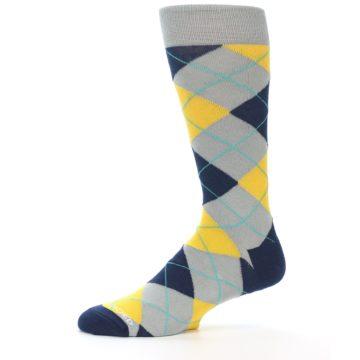 Image of Grey Gold Navy Argyle Men's Dress Socks (side-2-11)