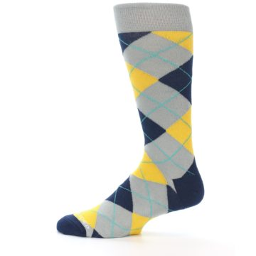 Image of Grey Gold Navy Argyle Men's Dress Socks (side-2-12)