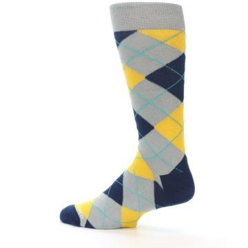 Image of Grey Gold Navy Argyle Men's Dress Socks (side-2-13)