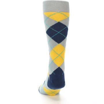 Image of Grey Gold Navy Argyle Men's Dress Socks (back-17)