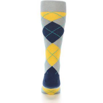Image of Grey Gold Navy Argyle Men's Dress Socks (back-18)