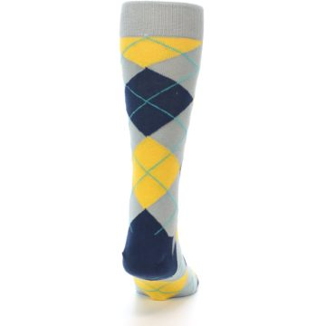 Image of Grey Gold Navy Argyle Men's Dress Socks (back-19)