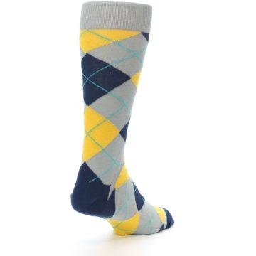 Image of Grey Gold Navy Argyle Men's Dress Socks (side-1-back-21)