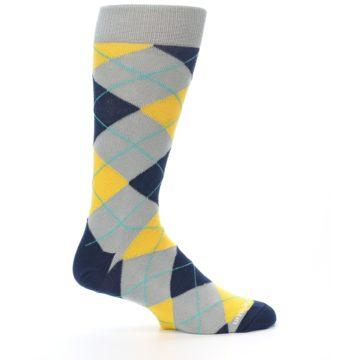 Image of Grey Gold Navy Argyle Men's Dress Socks (side-1-24)