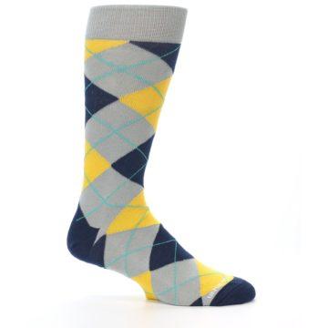 Image of Grey Gold Navy Argyle Men's Dress Socks (side-1-25)
