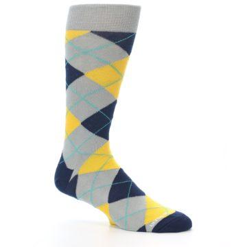 Image of Grey Gold Navy Argyle Men's Dress Socks (side-1-26)