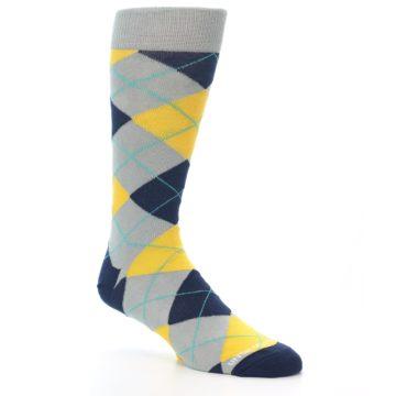 Image of Grey Gold Navy Argyle Men's Dress Socks (side-1-27)