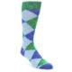 Image of Blue Light-Blue Green Argyle Men's Dress Socks (side-1-front-01)