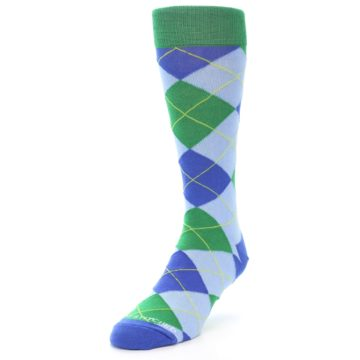 Image of Blue Light-Blue Green Argyle Men's Dress Socks (side-2-front-07)